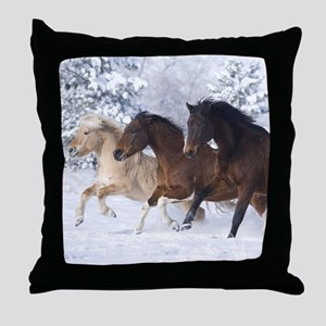Horses Running In The Snow Throw Pillow